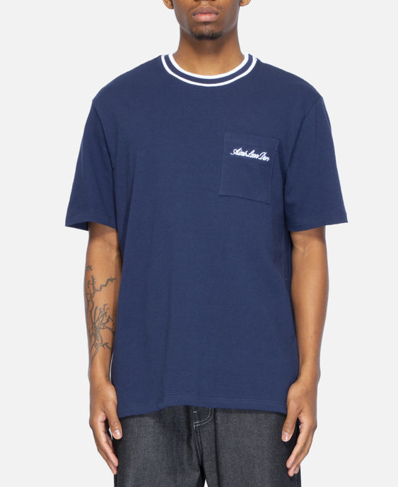 12 Oz Striped Collar S/S T-Shirt (Navy)