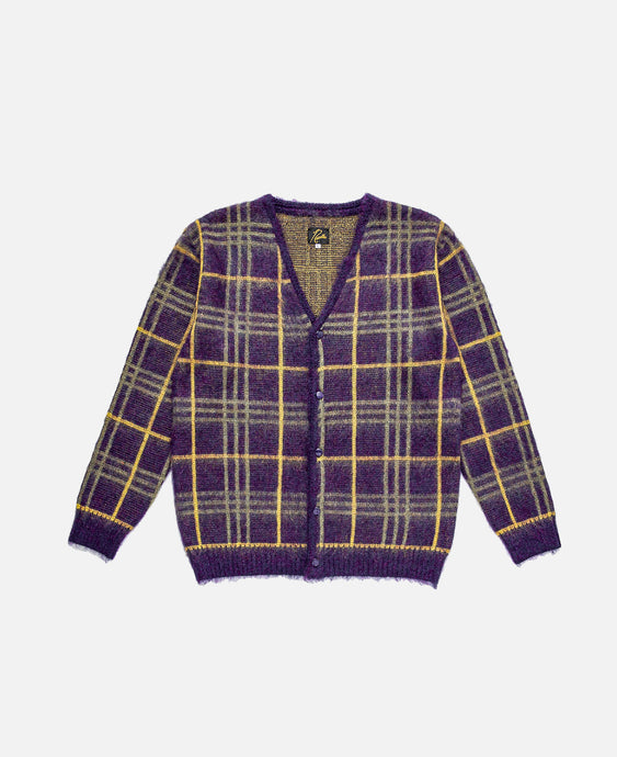 Mohair Cardigan - Plaid (Purple)