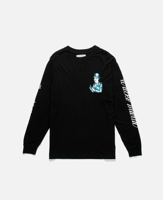 Smoking Man Print L/S T-Shirt (Black)
