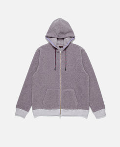 Zip Up Sheep Boa Pile Parka (Purple)