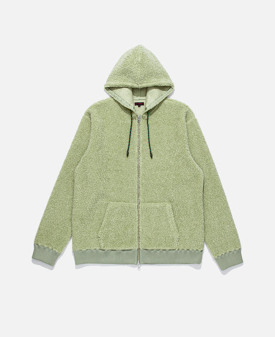 Zip Up Sheep Boa Pile Parka (Green)