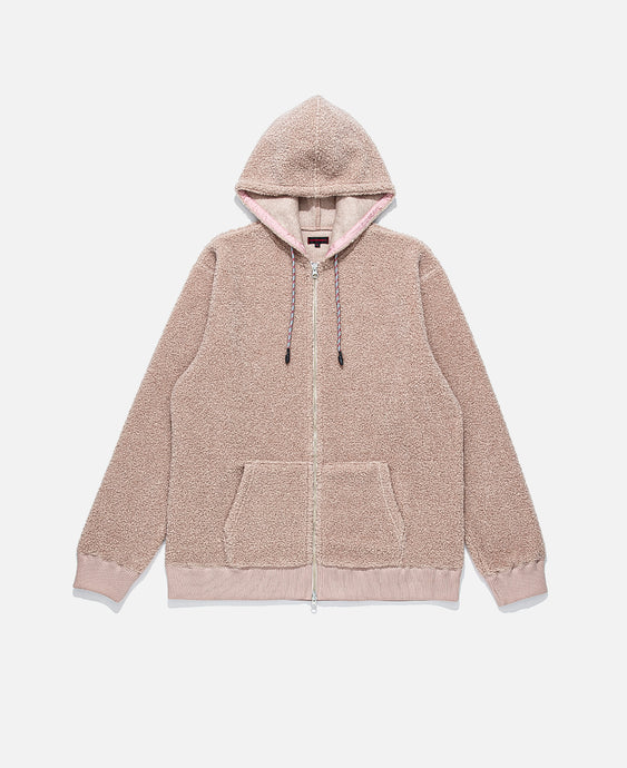 Zip Up Sheep Boa Pile Parka (Pink)