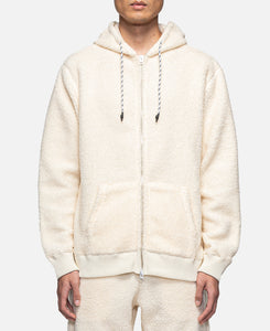 Zip Up Sheep Boa Pile Parka (White)