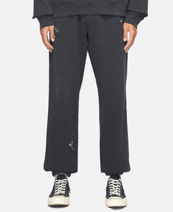 Sweat Pants W/ Skull Fly Embroidery (Black)