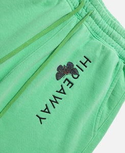 Sweat Shorts W/ Raw Edge & Logo Embroidery (Green)