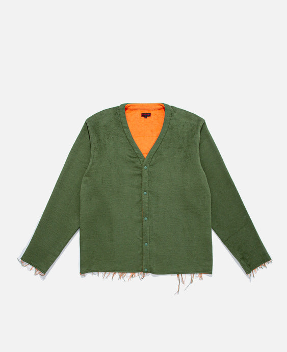Reversible Button Up Cardigan (Olive)