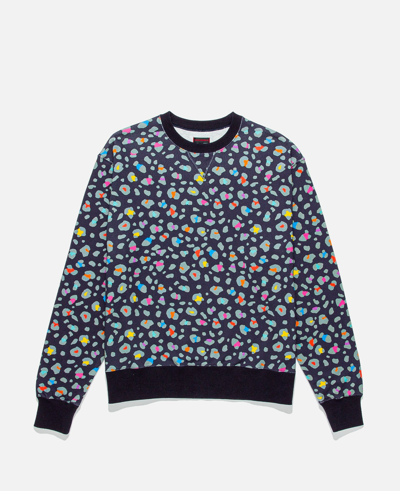 Leopard Multi-Color Crewneck (Navy)