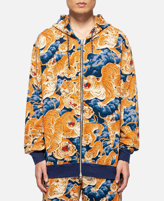 Tiger Clouds Zip Up Hoodie (Blue)