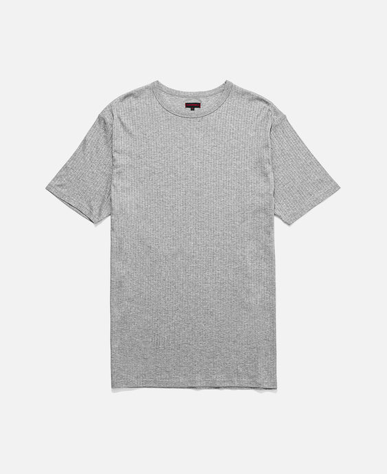 Underlay Ribbed Long Length T-Shirt (Grey)