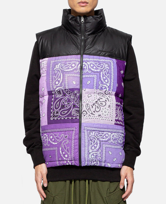 Bandana Down Vest (Purple)