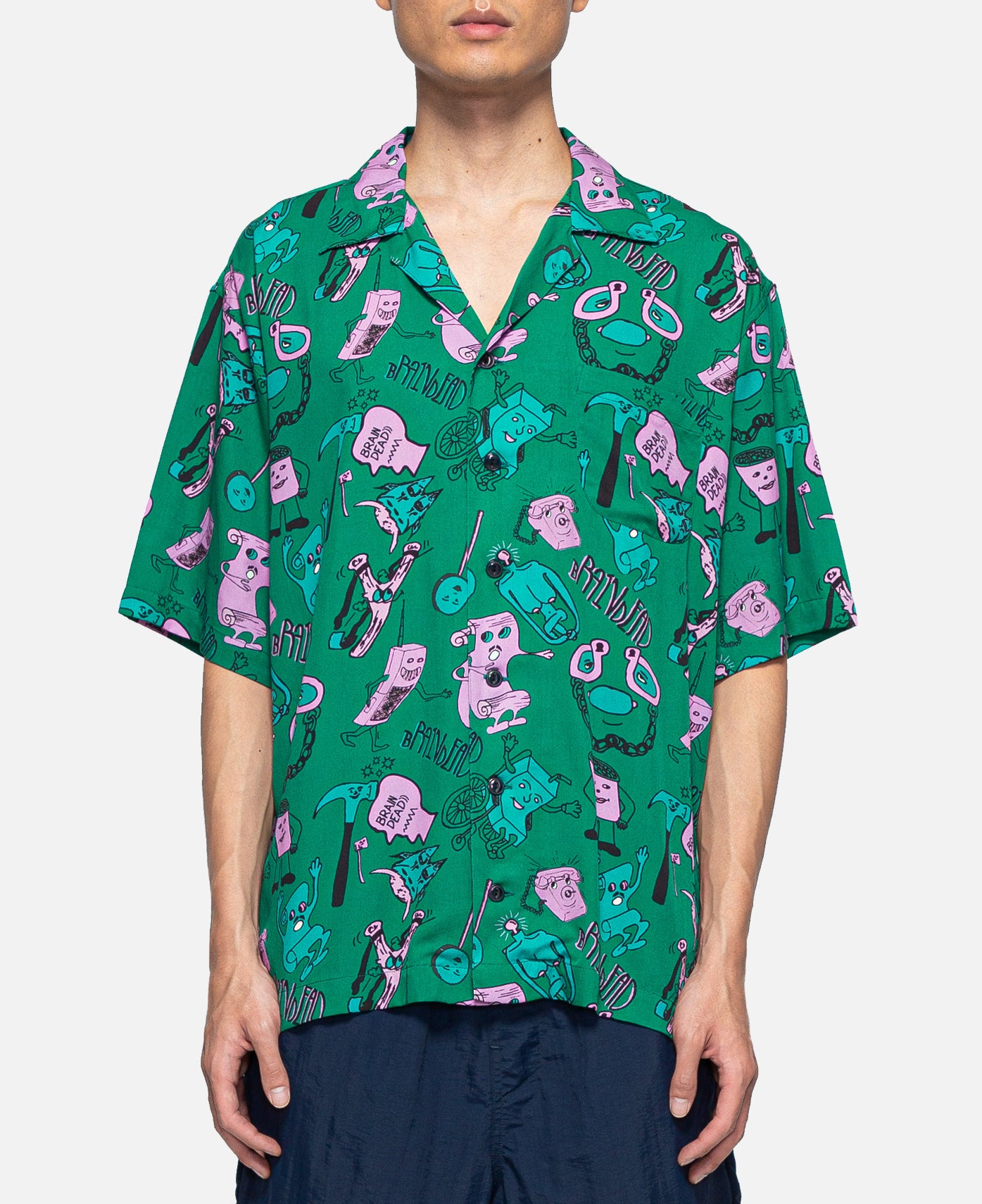Caricatures S/S Hawaiian Shirt (Green)