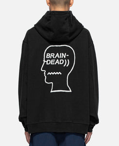 Speed Text Embroidered Logo Head Hooded Sweatshirt (Black)