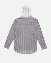 Contrast Tone Hooded L/S Shirt (White)