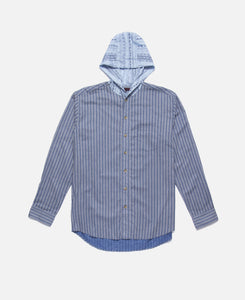 Contrast Tone Hooded L/S Shirt (Blue)