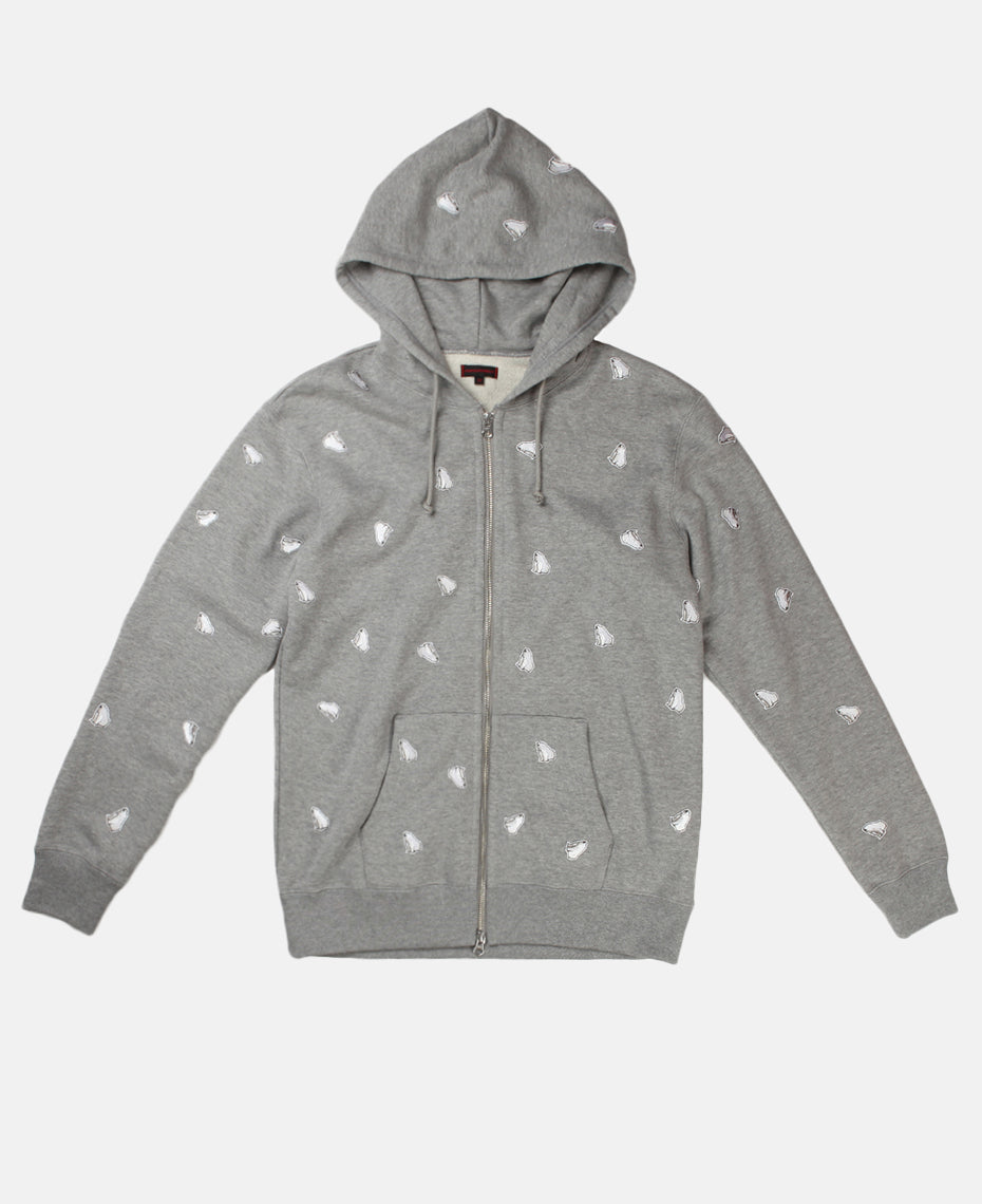 ALL OVER BEAR PATCH HOODIE (GREY)