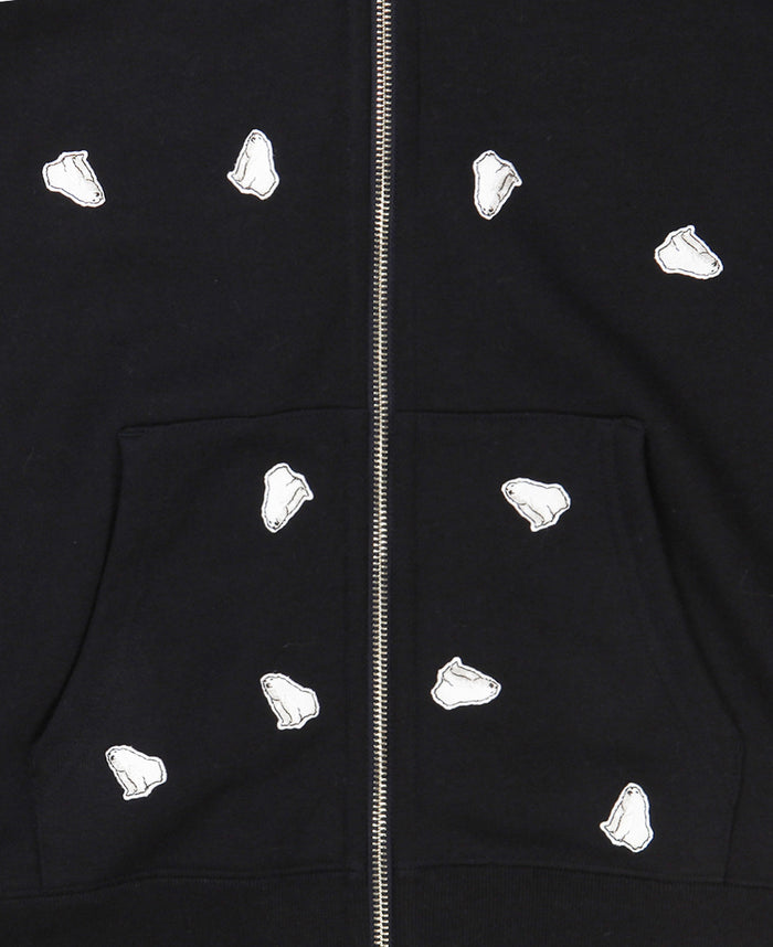 ALL OVER BEAR PATCH HOODIE (NAVY)