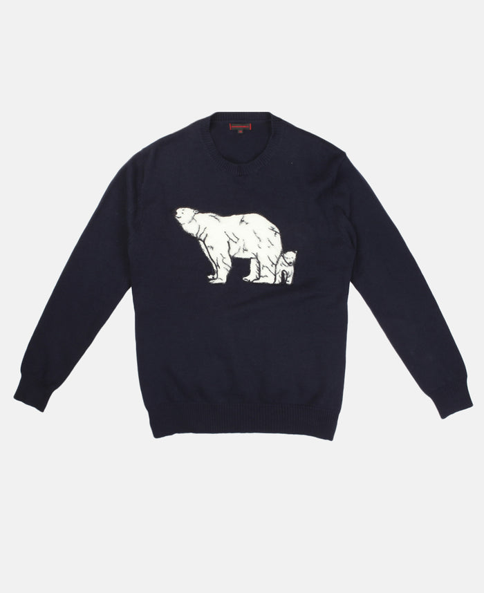 LURKING POLAR BEAR KNIT SWEATER (NAVY)