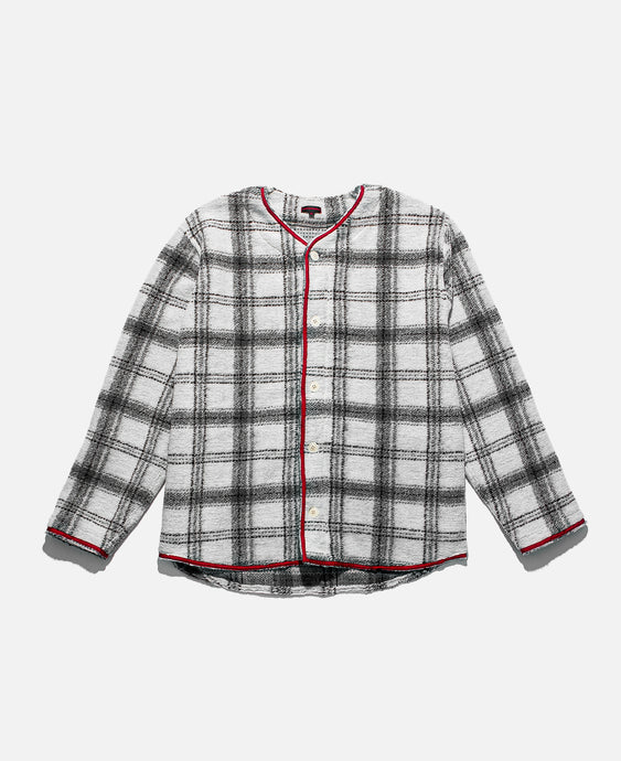 Thick Plaid Baseball Shirt (White)