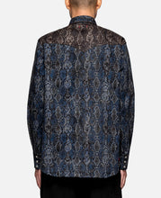 Snake PT Button Up Western Shirt (Navy)
