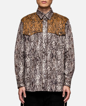 Snake PT Button Up Western Shirt (Brown)
