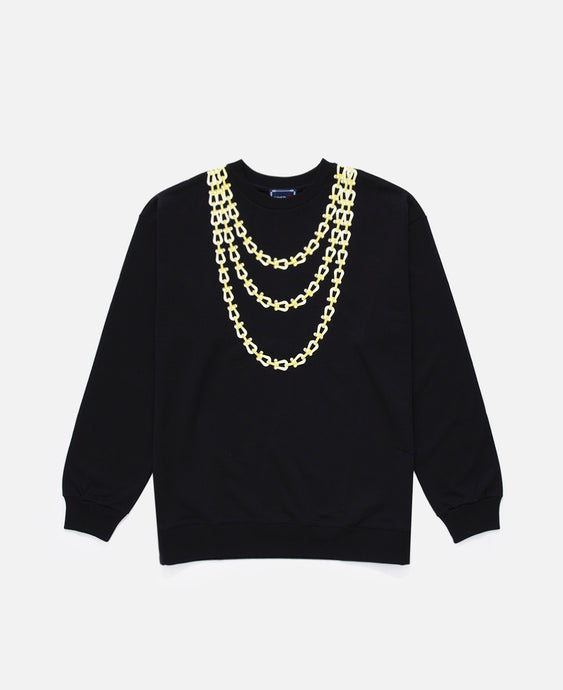 Buckles Chain Print L/S Crewneck (Black)