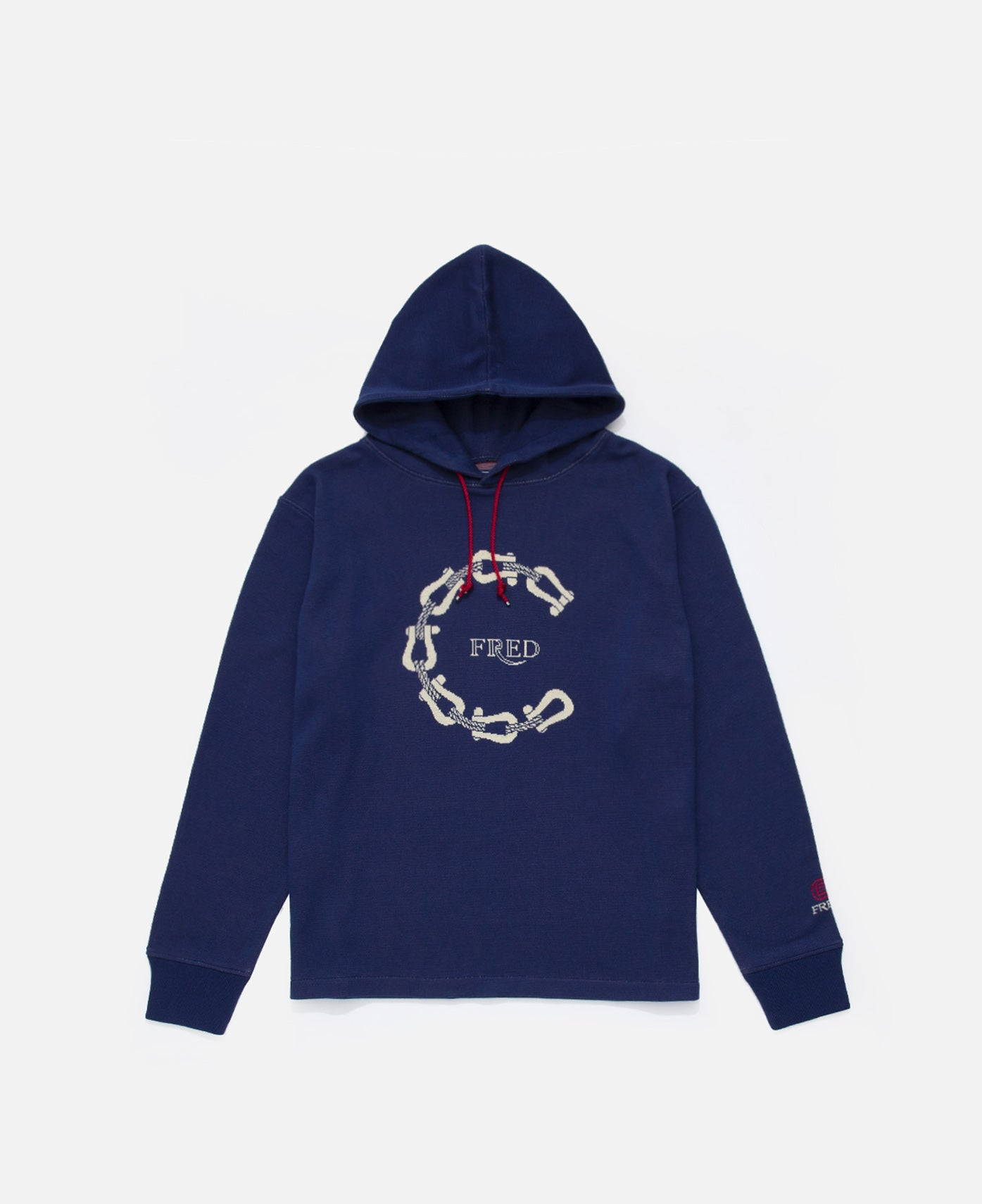 C Buckles Cotton Jacquard Hoodie (Navy)