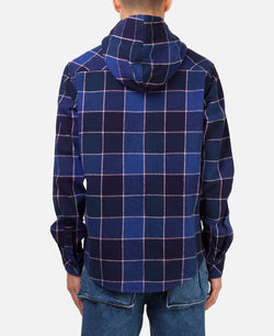 PLAID HOODED BUTTON UP SHIRT