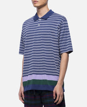 Pique Panel Border Polo Shirt (Blue)