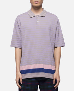 Pique Panel Border Polo Shirt (Grey)