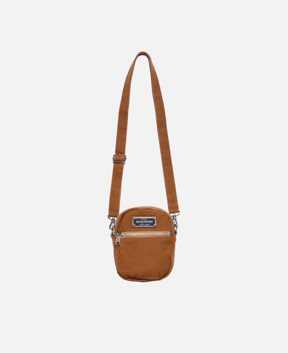 Washed Canvas Shoulder Bag (Brown)