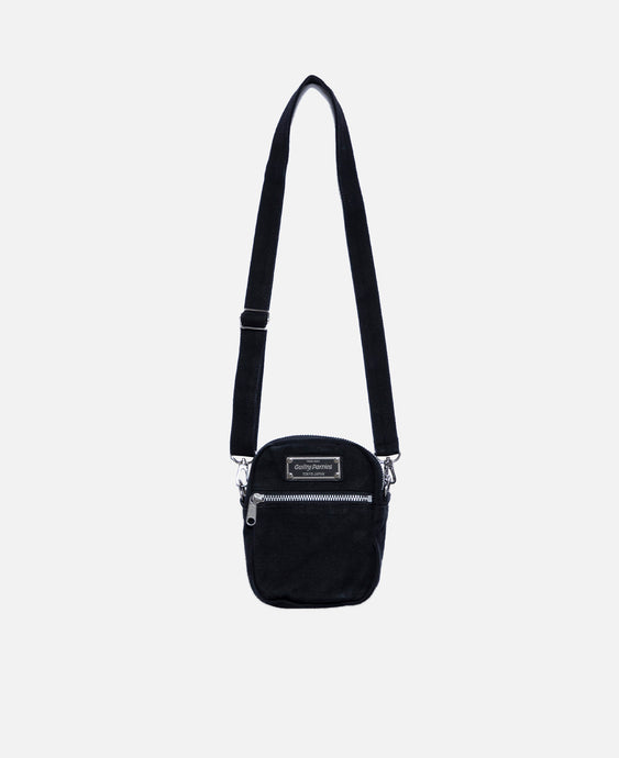 Washed Canvas Shoulder Bag (Black)