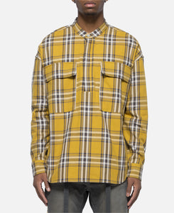Plaid Pullover Henley (Yellow)