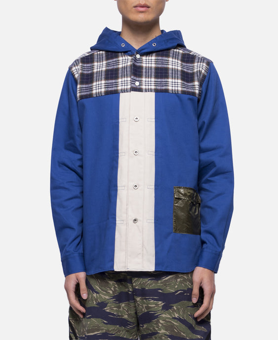 Plaid Panel Hoodie Shirt (Blue)