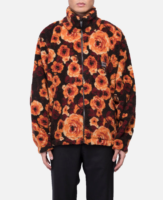 Floral Zipped Jacket (Brown)
