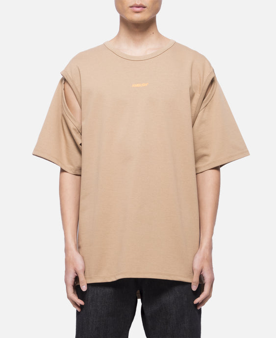 2way Cutout Logo T-Shirt (Brown)