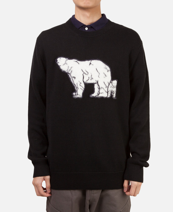 LURKING POLAR BEAR KNIT SWEATER (BLACK)