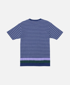 Pique Panel Border T-Shirt (Blue)