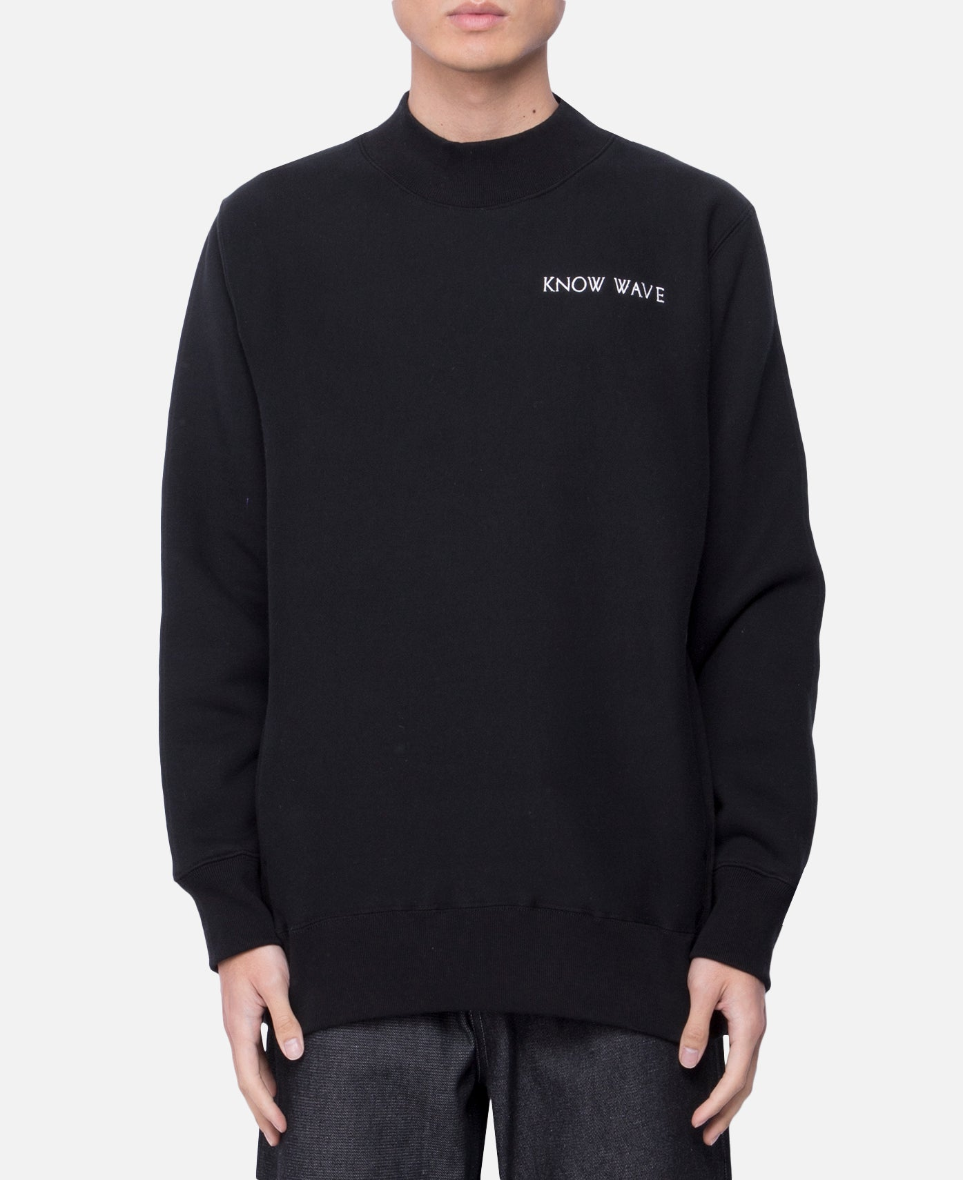 Mock neck Pocket Sweatshirt (Black)