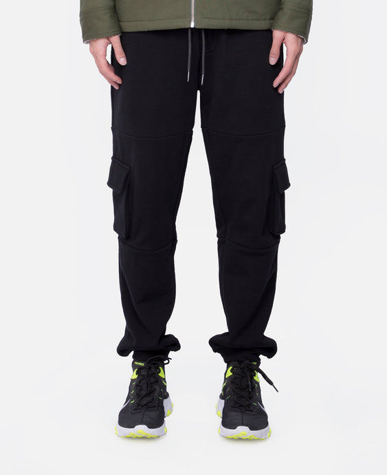 Cotton Color Block Jogger Pants (Black)