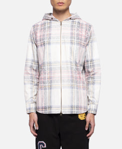 Ploral Hooded Zip Shirt (White)