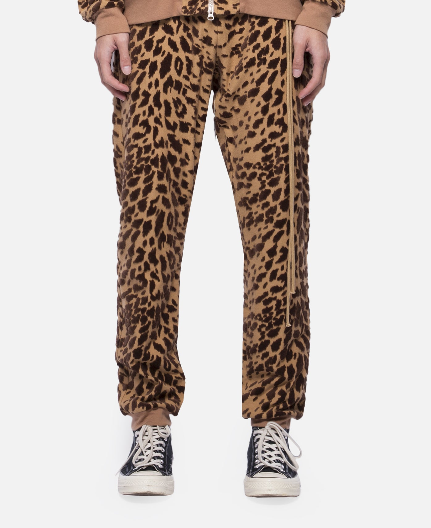 Leopard Flocky Track Pants (Brown)