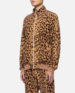 Leopard Flocky Track Jacket (Brown)