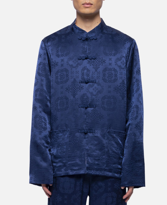 L/S Silk Shirt (Navy)