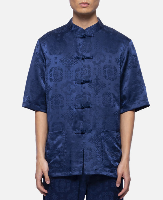 Silk China Button S/S Shirt (Navy)