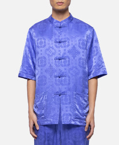 Silk China Button S/S Shirt (Purple)