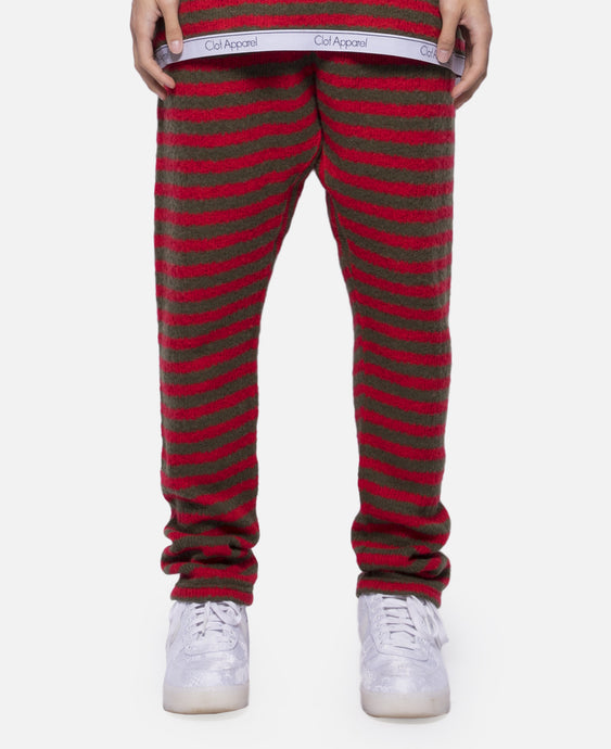 Border Knit Pants (Red)