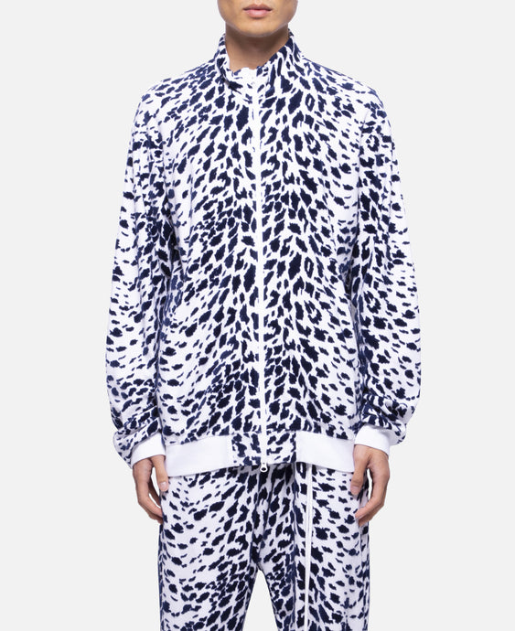 Leopard Flocky Track Jacket (White)