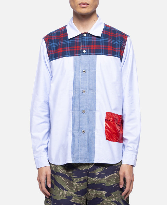 Plaid Panel Shirt (Blue)