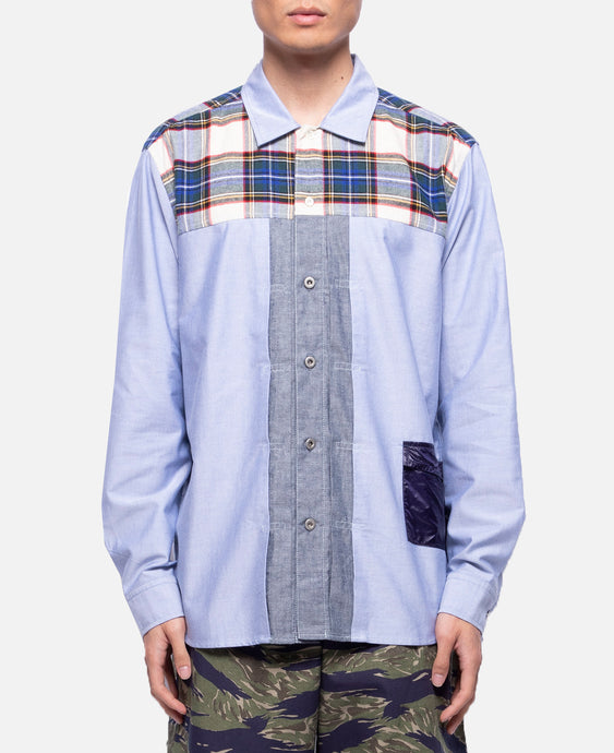 Plaid Panel Shirt (White)