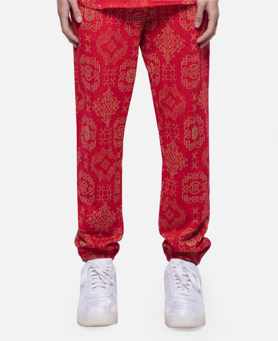 CLOT Pattern Sweat Pants (Red)